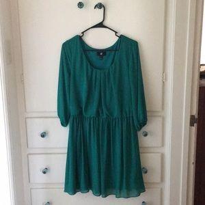 Emerald, long sleeve mini dress.